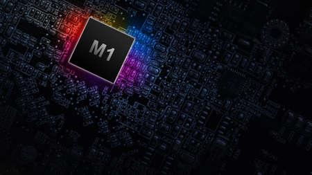 M1 processor chip. Digital computer processor, network motherboard chip on dark technology background. Modern technologies concept