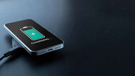 Phone charge. Mobile cell phone charge battery from wireless smart charger. Modern technology, portable fast charger
