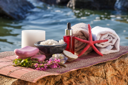 Bowls with sea salt, bottles with aromatic oil, candle, soap, wild flowers, sea shell, starfish and towels with bamboo cloth on stones. Spa products on natural background Stock Photo