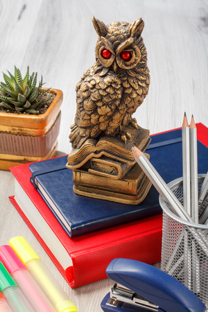 Books with statuette of owl on the top, metal stand with pencils, stapler, colored markers and houseplant in a pot on the background. School and office work supplies