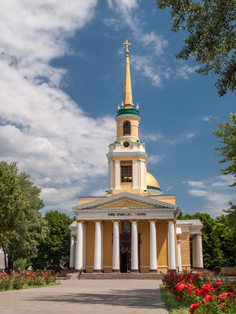 Front view of orthodox church Transfiguration Cathedral in Dnipro city, Ukraine in summer time