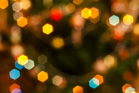Christmas blurred  with colorful festive lights. Stock Photo