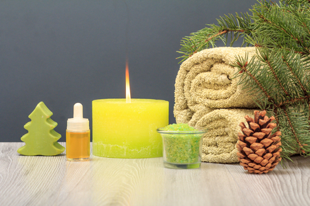 Spa composition with soft terry towel, bottle with aromatic oil, soap, bowl with sea salt, candle and fir tree branch on gray background Stok Fotoğraf