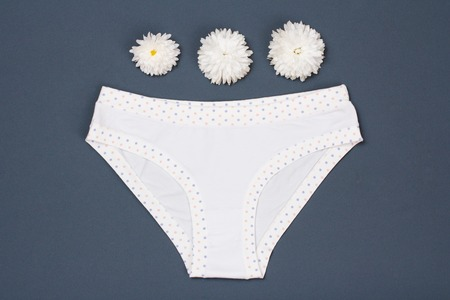 Beautiful panties with buds of flowers on gray Imagens