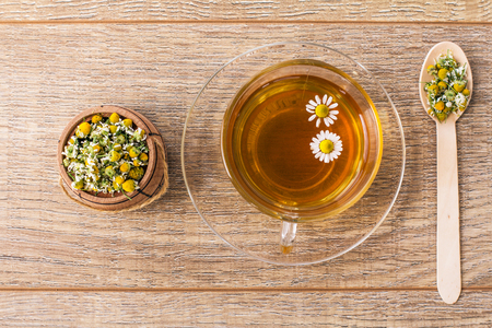 Glass cup of green tea with white chamomile flowers and little wooden barrel and spoon with dry flowers of chamomile on boards. Top view.