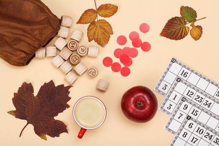 Board game lotto Autumn theme on beige