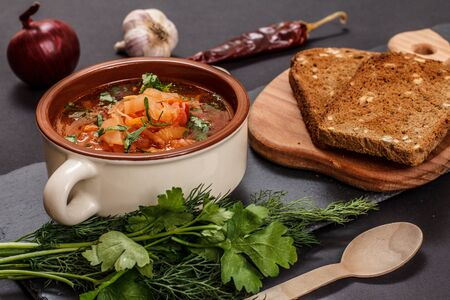 Ukrainian traditional borsch in porcelain bowl with rye bread, parsley, onion, garlic and capsicum on stone board. Top view.
