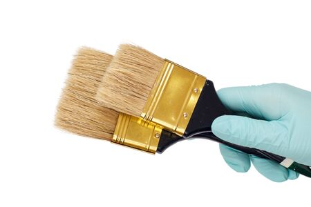 Female hand in a latex glove holding house painter brushes on a white isolated background. Repair tool. Building tool. Close-up view. Zdjęcie Seryjne