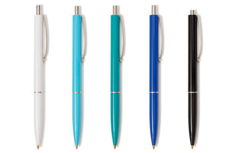 Five pens on the white isolated background. Top view. Stock fotó