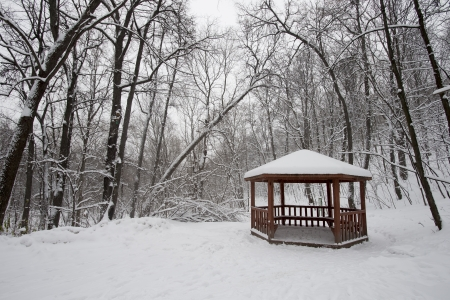 A pavilion with snow in winter in a park