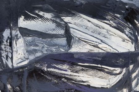 Ice on frozen river in winter Stock Photo