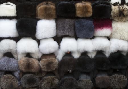 Fur hats in a street market