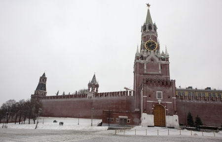 Spassky gate in the kremlin red square during snowfall in winter in Moscow