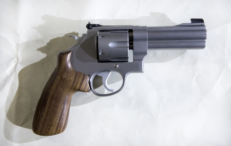 Close up profile view of a stainless steel hand gun Stock Photo - 17281505