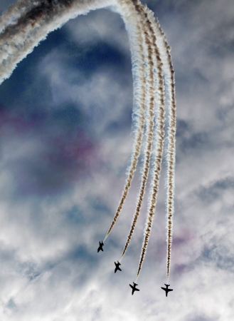 A team work in the sky during airshow