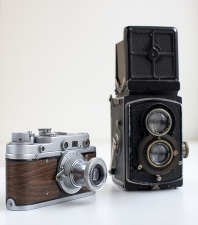 An antique old cameras on white background
