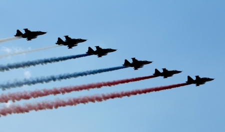 A team work in the sky during air show