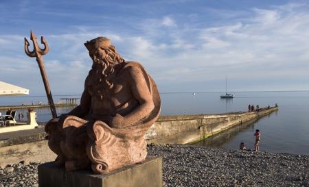 A statue of Neptune seen at a beach in Sochi