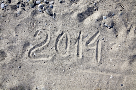 2014 on a sand at the seaside Stock Photo