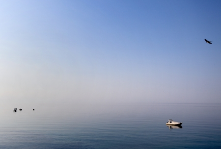 Some boats seen in the Aegean sea in the morning