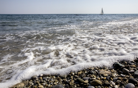 A windsurfer in a sea Stock Photo