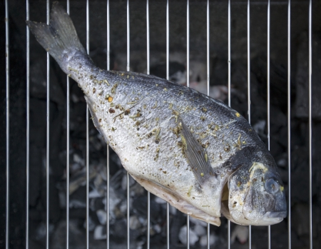 A barbecue with a fresh fish with spices