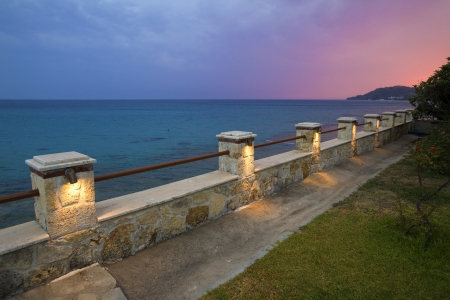 A fence in front of Aegean sea in Greece