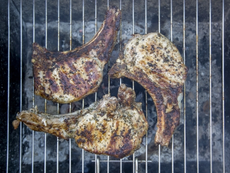 Steaks on a BBQ Stock Photo