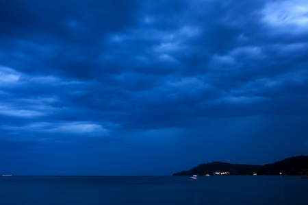 The blue sky at a night in Greece
