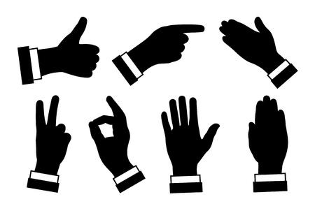 A silhouettes of hands, different signs and symbols, black image on white background