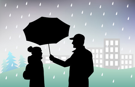 man holds an umbrella over a girl, protecting her from rain, bad rainy weather