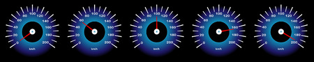 Une image vectorielle de compteur de vitesse de voiture avec différentes indicateurs de vitesse Banque d'images - 98479065