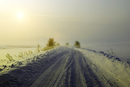 Winter road in the middle of the field. Sunrise in the winter. Winter landscape
