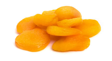 Dried apricots on a white isolated background. Dry apricot fruit