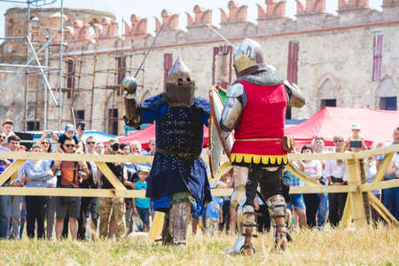 Medzhibizh, Ukraine. August 2019. Fight of knights aboutn medieval tournament