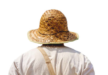Traveler in straw hat on white isolated background 版權商用圖片