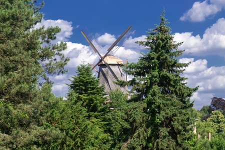 Windmill behind trees Stock Photo