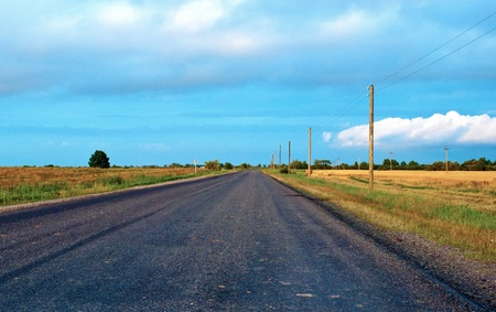 braslav: Country highway in Lithuania Stock Photo