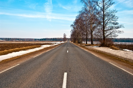 country highway: Country highway in Lithuania Stock Photo