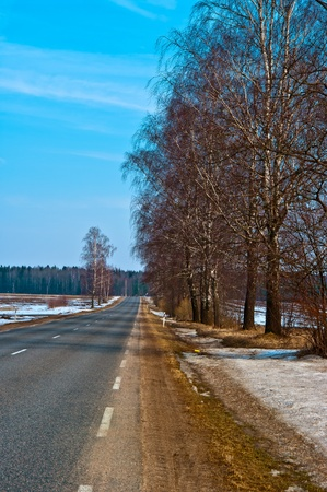 Country highway in Lithuania Stock Photo