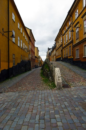 Street paved with bricks in Stockholm