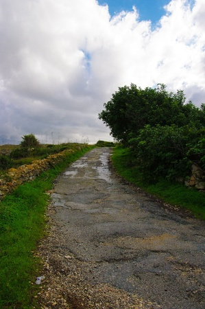 Country rural road in Malta