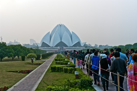 India, Delhi, October 2011, people in a line to Lotus Temple.
