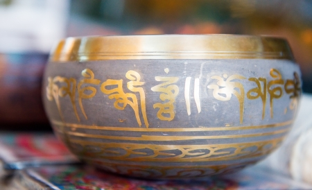 rin gong: Buddhist singing bowl vase Stock Photo