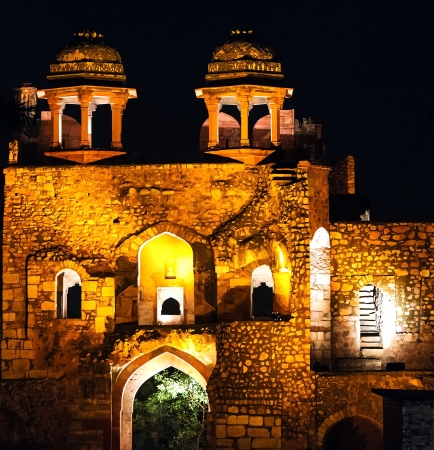 mughal: Old fortification in India at nighttime