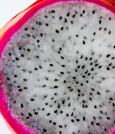 Pitaya - dragon fruit. Dragonfreuit  cut in few slices close-up photo