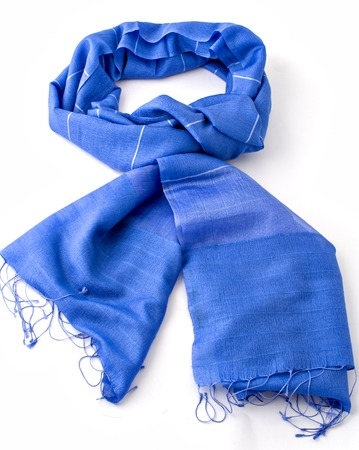 blue scarf or pashmina isolated on white
