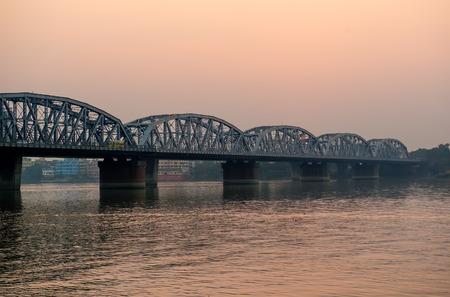 hugely: Bridge over Ganga at sunset