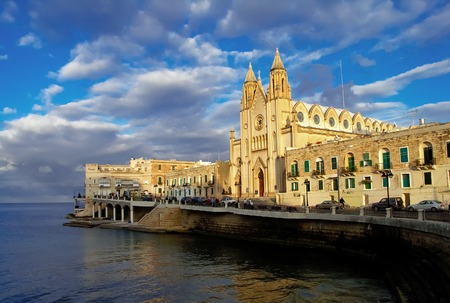 neo-gothic Carmelite Parish Church, Balluta Bay, Malta