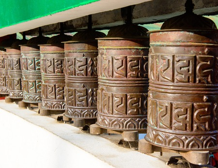 Prayer wheel in the state of Sikkim. The Indian Himalayas photo